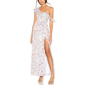 MAJORELLE Floral Sequin One Shoulder Maxi Dress S